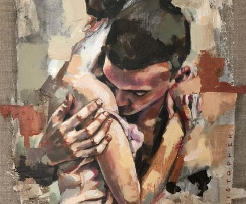 Abstract Intimate Portrait of Hugging   Electric Fresco Tattoos PDX