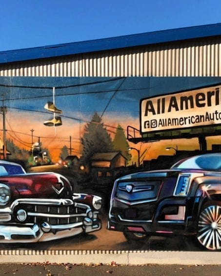 All American Auto Mural | Electric Fresco Tattoos PDX