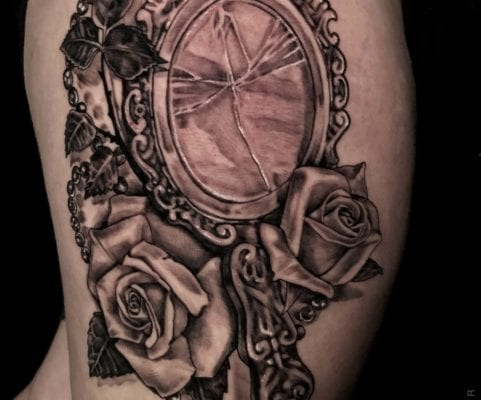 Broken Mirror and Roses | Electric Fresco Tattoos PDX