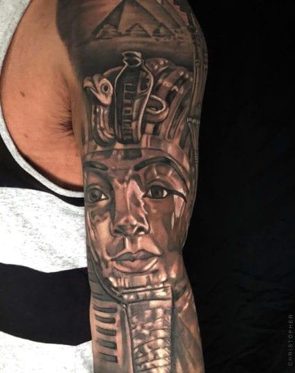 Close up Pharaoh Portrait | Electric Fresco Tattoos PDX