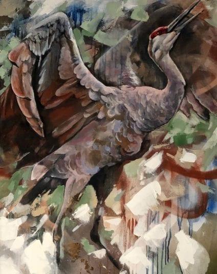 Crane Painting | Electric Fresco Tattoos PDX