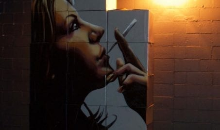 Woman Smoking Cigarette Wall Mural | Electric Fresco Tattoos PDX
