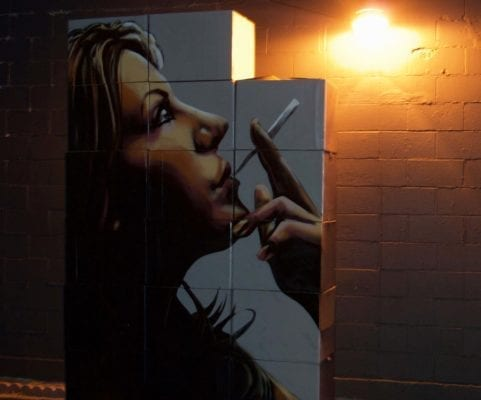 Woman Smoking Cigarette Wall Mural | Electric Fresco Tattoos PDX