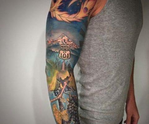 North 101 Landscape Sleeve | Electric Fresco Tattoos PDX