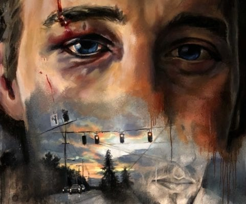 Scarred Eyebrow Oil Painting   Electric Fresco Tattoos PDX