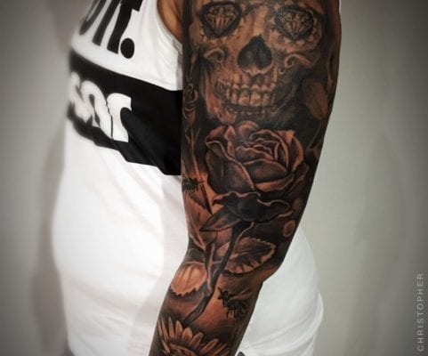 Sugar Skull and Rose | Electric Fresco Tattoos PDX
