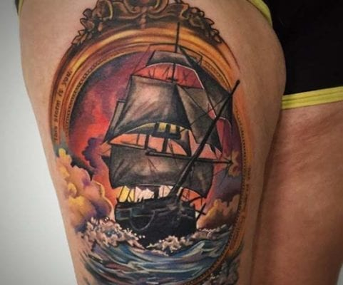 Color Ship on Thigh | Electric Fresco Tattoos PDX