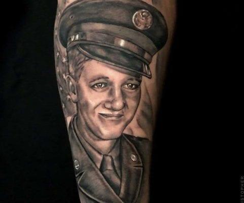 Veteran Portrait Front View | Electric Fresco Tattoos PDX
