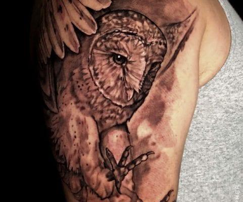 White Barn Owl | Electric Fresco Tattoos PDX