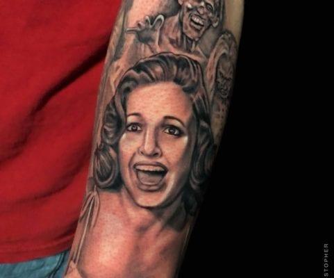 Woman with Zombie | Electric Fresco Tattoos PDX