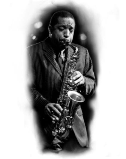Available Tattoo: Black and White Saxophone Player | Electric Fresco Tattoos PDX