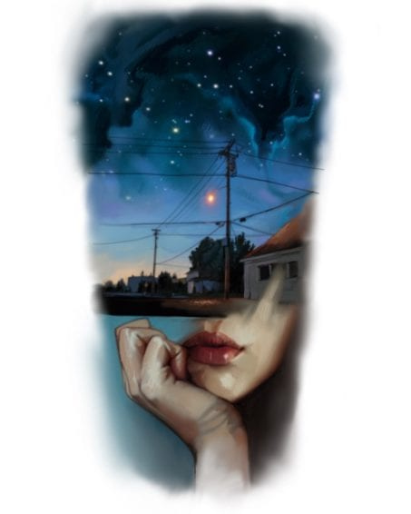 Available Tattoo: Street at Night Over Womans Head | Electric Fresco Tattoos PDX